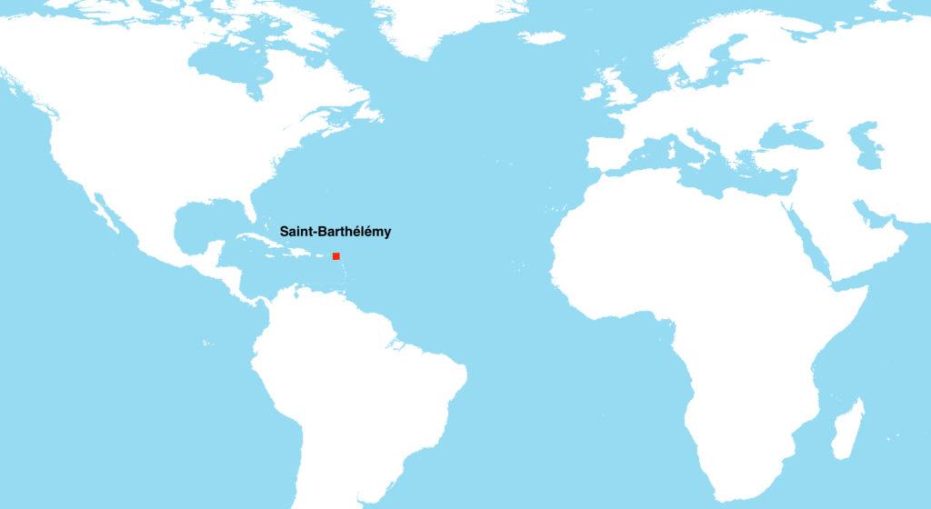 St-Barthélémy sur une carte du Monde
